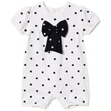 Emile et Rose White and Navy Spot Bow Bubble Babygrow