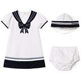 Emile et Rose White and Navy Jersey Sailor Dress and Hat