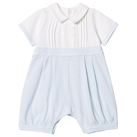 de9fd29cce9f Emile et Rose Pale Blue and White Jersey Collared Romper