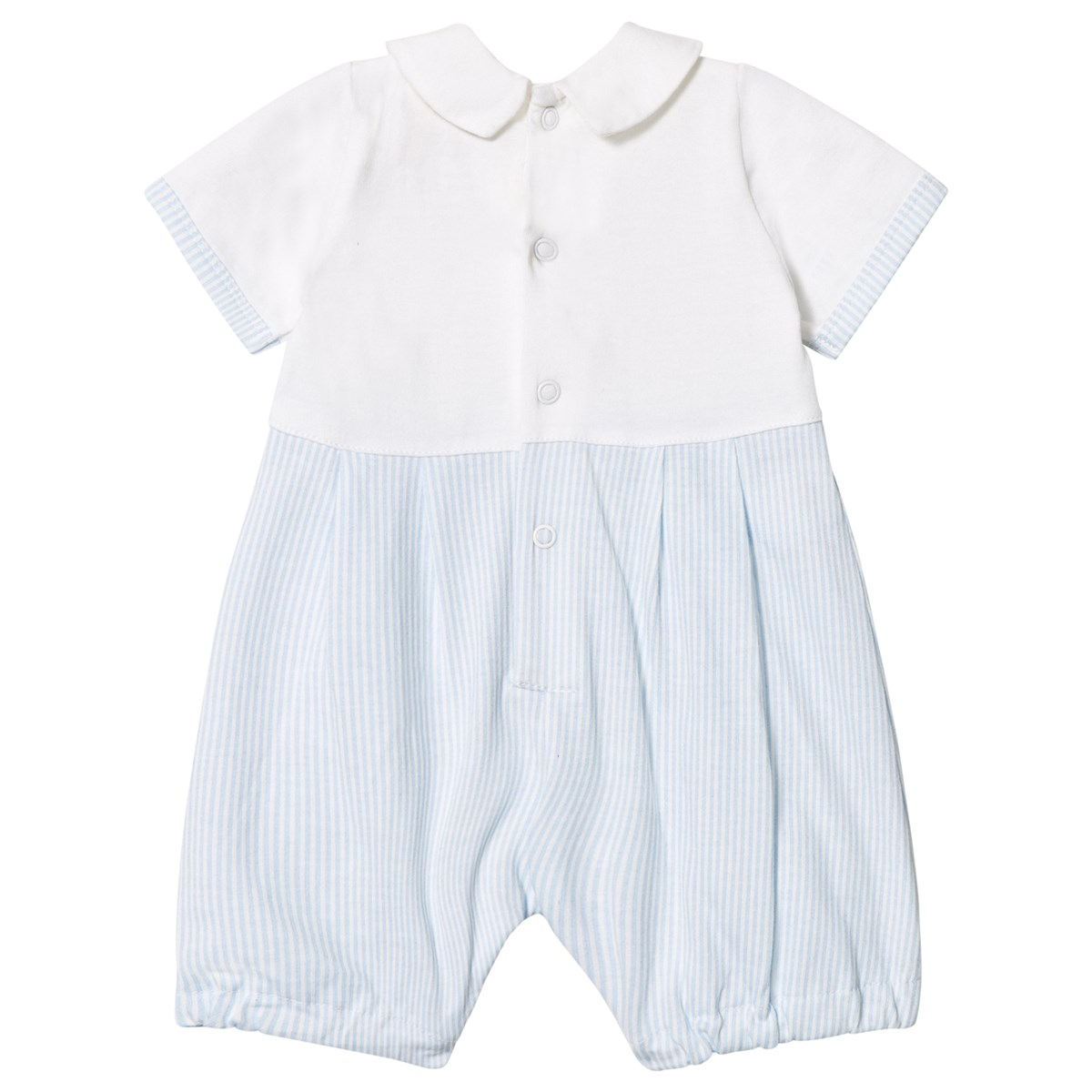 c2f342108d59 Emile et Rose Pale Blue and White Jersey Collared Romper