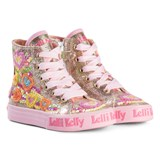 Lelli Kelly Gold And Pink Heart Sequin Embroidered Mid Trainers