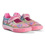 Lelli Kelly Pink Rainbow Hearts Glitter Beaded Dolly Velcro Shoes