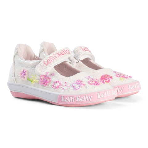 f703ff81 Lelli Kelly White And Pink Butterfly Glitter Beaded and Embroidered Dolly  Shoes