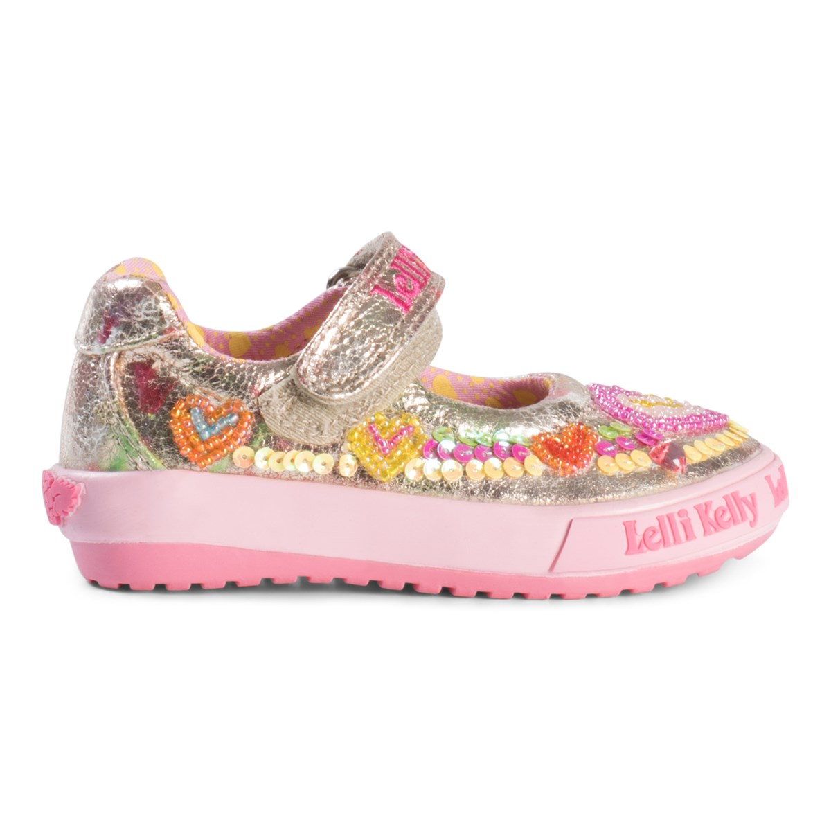adf2e15d568a4 Lelli Kelly Pink And Gold Heart Sequin and Embroidered Baby Dolly Shoes    AlexandAlexa