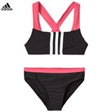 adidas Performance Black and Pink Branded Two-piece Swimsuit