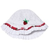 Pate de Sable White Sun Hat with Strawberry Print Trim