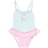 Pate de Sable White and Pink Dotty Tutu Infants Swimsuit