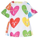 Agatha Ruiz de la Prada White Multicolour Heart Face Print Dress