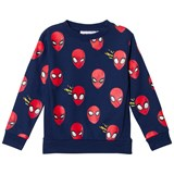 Fabric Flavours Blue And Red Spiderman Faces Sweatshirt
