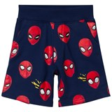 Fabric Flavours Navy And Red Spiderman Faces Sweatshorts