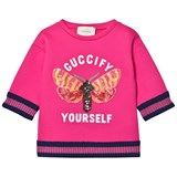 Gucci Fuchsia Sequin Butterfly Applique Jumper
