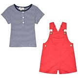 Cyrillus Navy and White T-Shirt and Red Dungarees Set