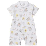 Kissy Kissy White Jungle Print Polo Romper