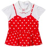 Vivetta Red Heart Peplum Top with Hand Detail Collar