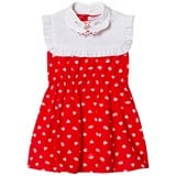 Vivetta Red Heart Print Dress with White Hand Detail Bib Collar