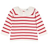Cyrillus Red Stripe Pierrot Collar Knitted Top