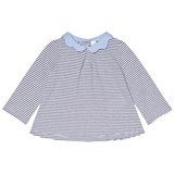Cyrillus Navy and White Stripe jumper with Chambray Collar