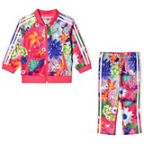 adidas Originals Pink Girls Flower Printed Infants Top and Bottoms Set