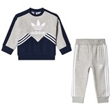 adidas Originals Grey and Navy Logo Infants Sweater and Joggers Set