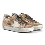 Golden Goose Gold Glitter Superstar Sneakers with Leopoard Laces