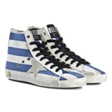 Golden Goose Blue and White Stripe Francy Star Trainers