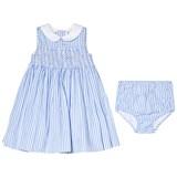 Ralph Lauren Blue Stripe Smocked Dress with Rose Embroidery