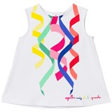 Agatha Ruiz de la Prada White Dress With Multi Coloured Ribbon Print
