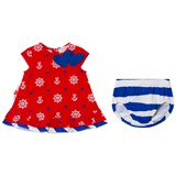 Agatha Ruiz de la Prada Red Blue And White Sailor Print and Stripe Dress And Bloomers