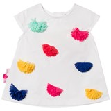 Agatha Ruiz de la Prada White Dress With Multi Coloured Pom Poms