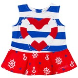 Agatha Ruiz de la Prada Blue Red And White Sailor Print Striped Dress