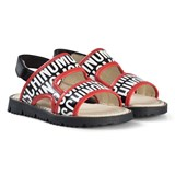 Moschino Red and Black Logo Sandals