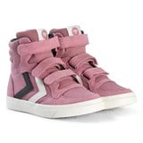 Hummel Foxglove Pink Stadil Canvas Duo High Top Junior Trainers