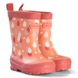 Viking Coral Orange Raindrop Wellies
