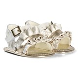 Michael Kors White and Gold Logo Zia Baby Free Sandals