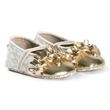 Michael Kors White and Gold MK Zia Baby Flower Shoes