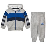 adidas Performance Grey and Blue Kids Tracksuit