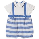 Mayoral Blue Stripe Dungaree Effect Collared Romper