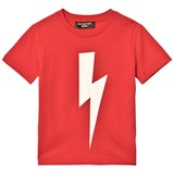 Neil Barrett Red with Black Lightning Bolt Print T-Shirt