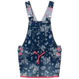 Billieblush Floral Denim Dungaree Dress with Pom Pom Hem