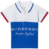 Burberry White and Blue Classic Branded Dary Polo