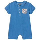 Burberry Chalk Blue Pique Romper with Classic Check Pocket