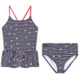 Joules Navy Stripe and Multi Coloured Spotted Two Piece Swimsuit
