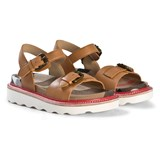 Burberry Tan and Classic Check Leather Sandals