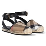 Burberry Brown and Black Classic Check Strappy Sandals