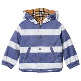 Burberry Navy and White Reversible into Antique Check Mayer Hooded Jacket