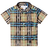 Burberry Blue and Beige Check Mini Clarkey Short Sleeve Shirt