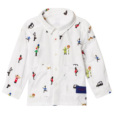 Burberry White Embroidered London Decci Shirt