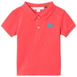 Burberry Coral Palmer Polo with Contrast Knight Branding