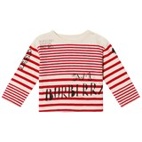 Burberry Red and White Branded Stripe Mini SW1 Long Sleeve T-Shirt