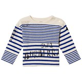 Burberry Blue and White Branded Stripe Mini SW1 Long Sleeve T-Shirt